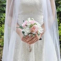 100 handmade bride wedding bouquet bridal holding bouquet wedding supplies artificial roses mixed pink flower home decoration
