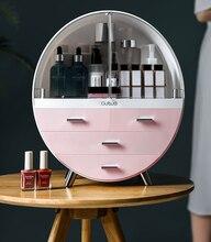2019 nueva caja de cosméticos impermeable de doble puerta caja de cosméticos cubierta a prueba de polvo caja de almacenamiento cajón de plástico caja de almacenamiento de cosméticos