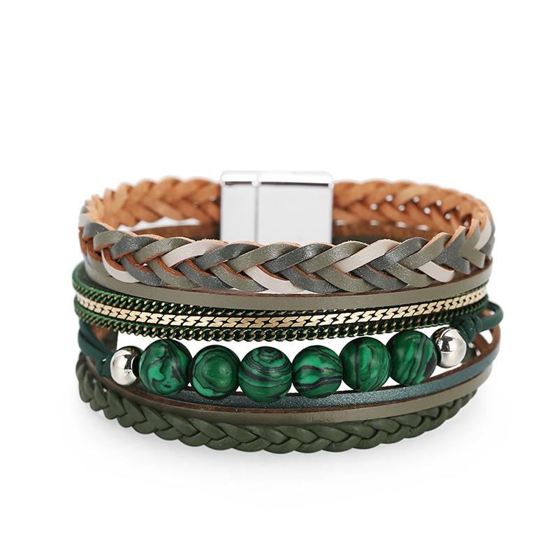 Estilo boêmio multi-camada charme liga fivela magnética pulseira moda senhoras tecido pulseira de couro frisado