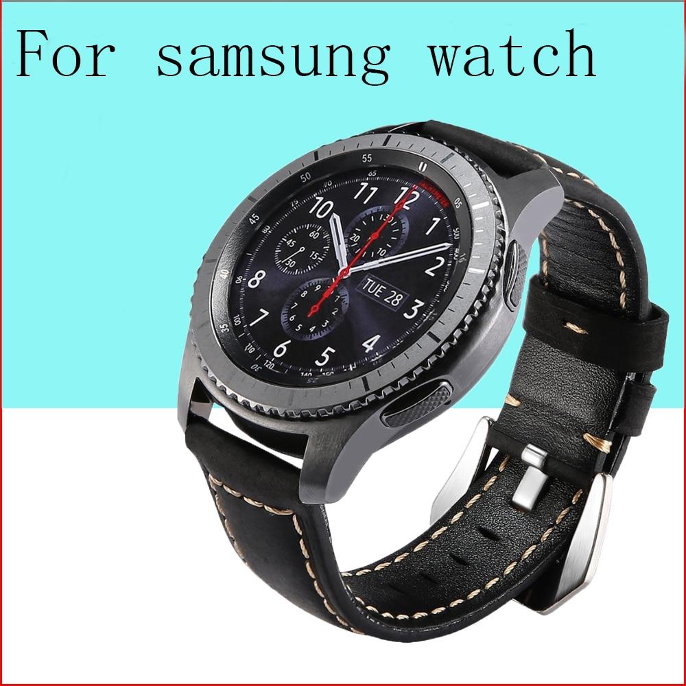 Pulseira de couro para relógio samsung, galaxy 46mm, gear s3 frontier, 22mm, huawei watch gt gear s 3 classic 46