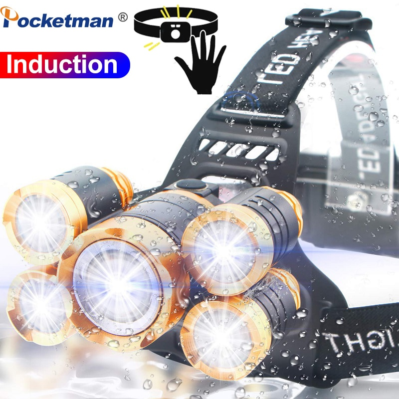 3/5 LED T6 Head Torch LED Lamp Flashlight Camping Light Waterproof 2x 18650 Headlamp Motion Sensor Fishing Headlight