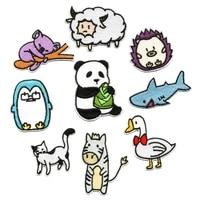 100pcslot embroidery patch cute animal bear shark penguin sheep duck panda clothing decoration craft diy iron heat transfer
