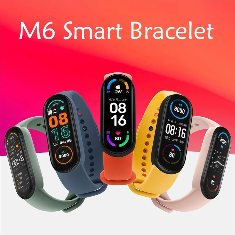 1 3 custom dial smart band watch fitness tracker bracelet hr bp smartband fit for ios xiaomi honor vs mi band 3 4 not xiomi 2021 M6 Smart Bracelet Watch Fitness Tracker Smartband Heart Rate Blood Pressure Monitor Smart Band For XIaomi IOS Android Phone