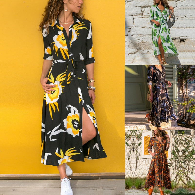 2021 new fashion printed long-sleeved dress in four colors party dress  dress women