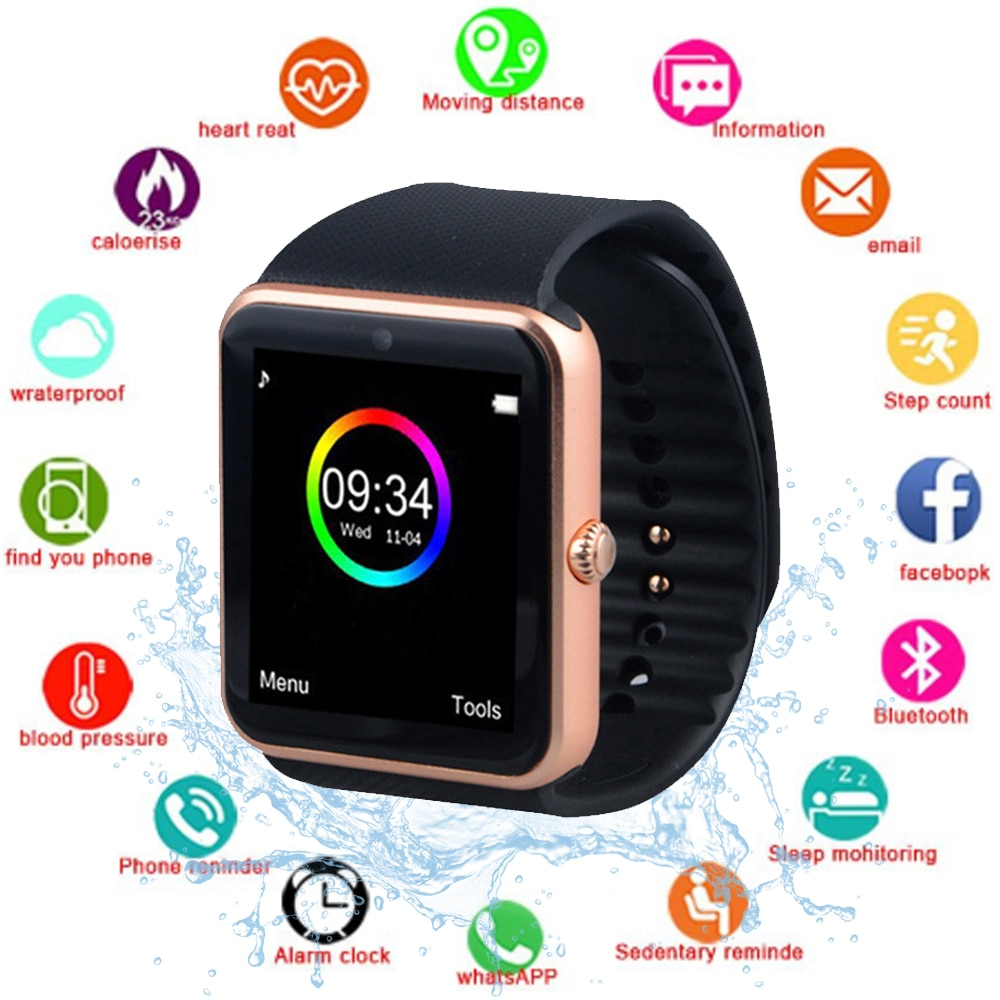 Reloj inteligente GT08 compatible con NFC, tarjeta SIM, reloj inteligente antipérdida con Bluetooth, podómetro, reproductor de música, pantalla táctil, reloj deportivo de fitness
