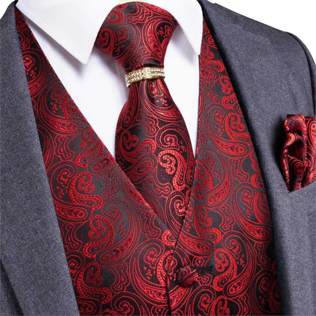 Мужской классический свадебный Шелковый жилет с узором пейсли жаккардовый жилет красный Карманный квадратный галстук кольцо запонки кост...