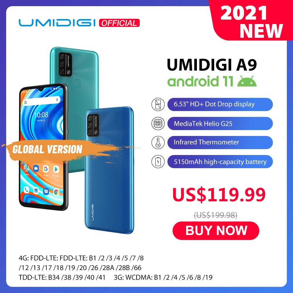 UMIDIGI A9 Android 11 Global Version 13MP AI Triple Camera 3GB 64GB Helio G25 Octa Core 6.53