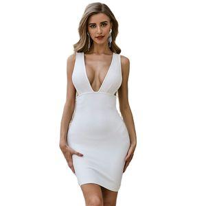 Summer White Bodycon Bandage Dress Women Spaghetti Strap Deep V-Neck Celebrity Evening Party Sexy Club Dress Woman Vestidos