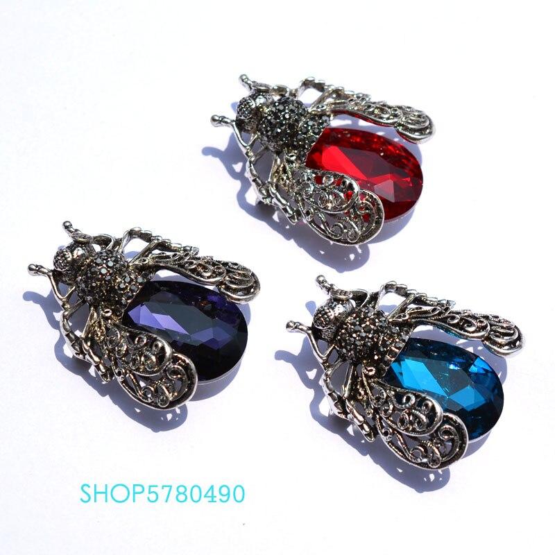 Moda jóias de cristal bonito inseto broche strass unissex peito pino multi cor roupas senhoras dança vestido acessórios