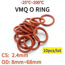 Junta de sellado de junta tórica VMQ, espesor CS 2,4mm OD 8 ~ 68mm, goma de silicona aislada, arandela impermeable, forma redonda, no roja, 10 Uds.