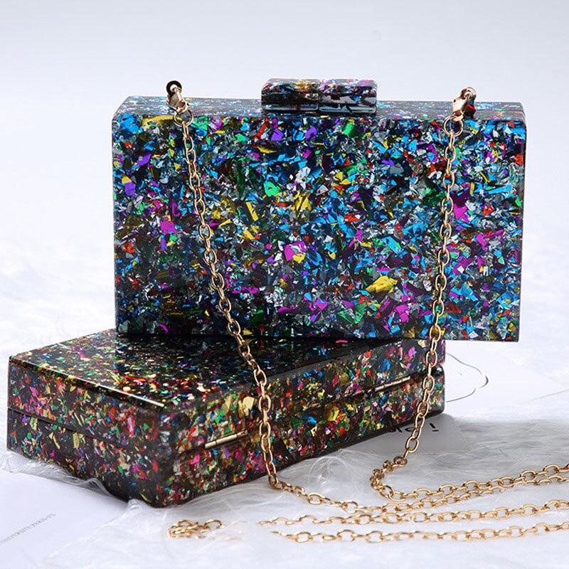 بريق الاكريليك مساء حقيبة المرأة علبة صلبة أنيقة مولي اللون الترتر حقائب اليد الزفاف بلينغ حفل زفاف مخلب سلسلة المحفظة
