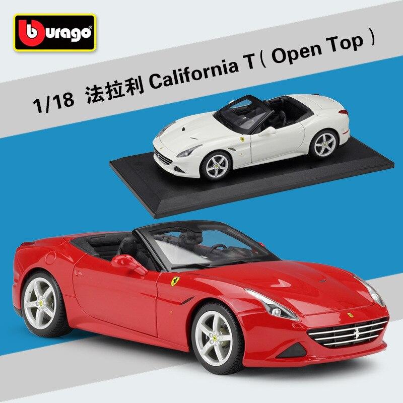 Bburago литье под давлением 118 California T Cabriolet Открытый Топ Красный Белый спортивный автомобиль высокого моделирования автомобиль сплава Модель ...