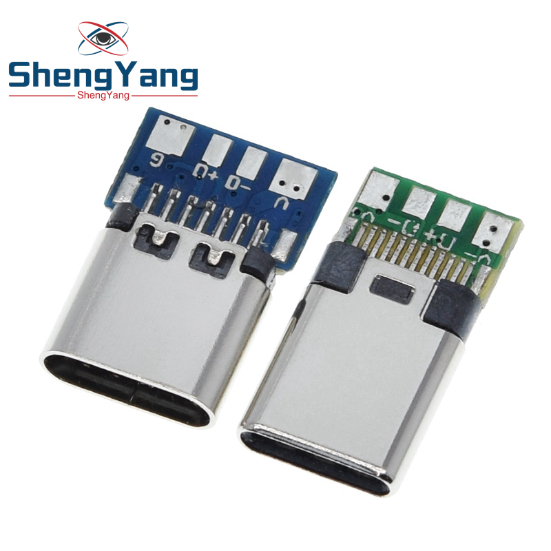 10pcs USB 3.1 Type-C Connector 24 Pins Male / Female Socket Receptacle Adapter to Solder Wire & Cable 24 Pins Support PCB Board