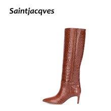 Sexy High Heels Western Boots Fashion Knee High Boots Women Microfiber Thin High Heel Long Boots Poi