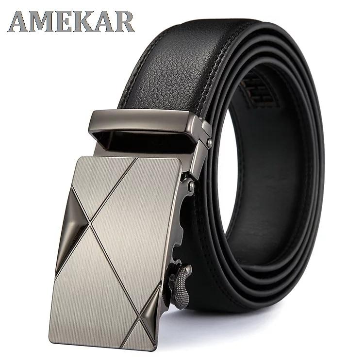 PU Leather Mens Belts Automatic Buckle Fashion Belts For Men Business Popular Male Brand Black Belts