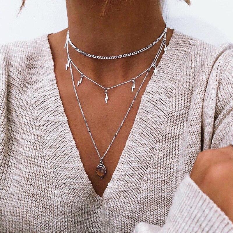 Colar com pingente de borla e clavícula, pingente de miçangas de vidro para mulheres, gargantilha, colares em camadas feminina 2020, joias da moda