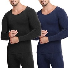 Men's Thin Warm Autumn Clothes Long Trousers Suit Quick Drying Warm Fashion Long Sleeve Tops Keep Wa
