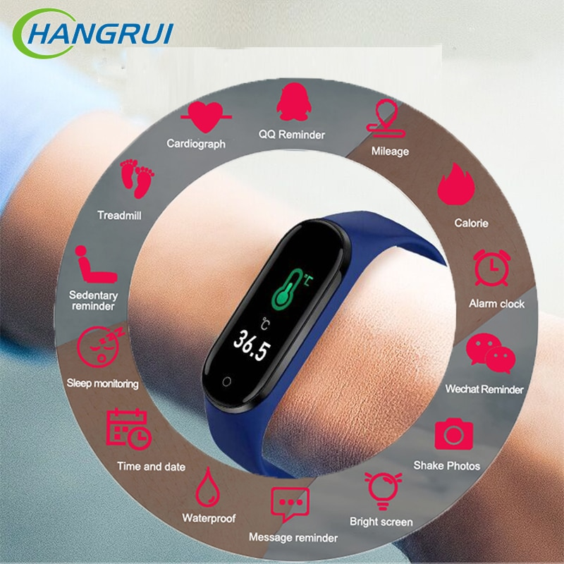 2020 Newest M4 Pro Smart Watch Bluetooth Blood Pressure Heart Rate Monitor Fitness Bracelet M4 Pro Body Temperature Bracelet