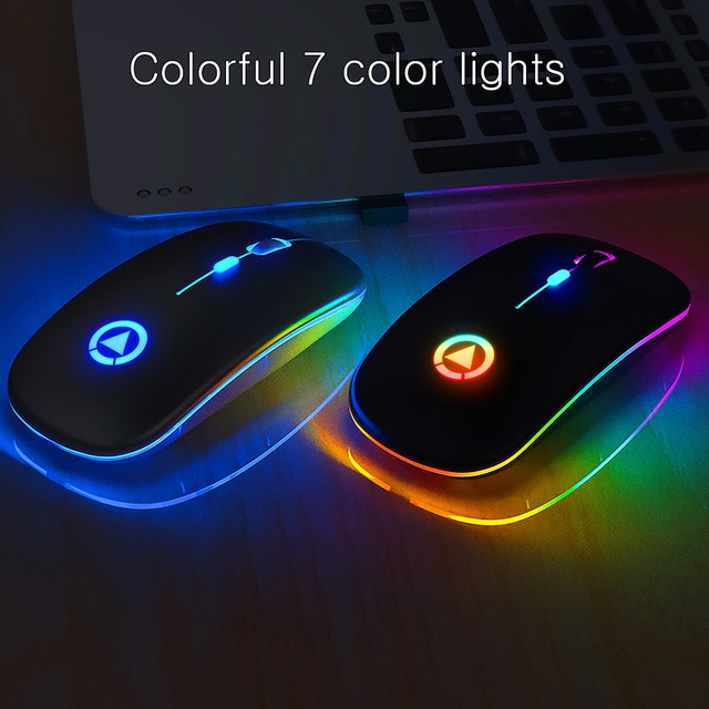 Ultra-thin LED Colorful Lights Rechargeable Mouse Mini Wireless Mute USB Optical Ergonomic Gaming Mouse Notebook Computer Mouse 10