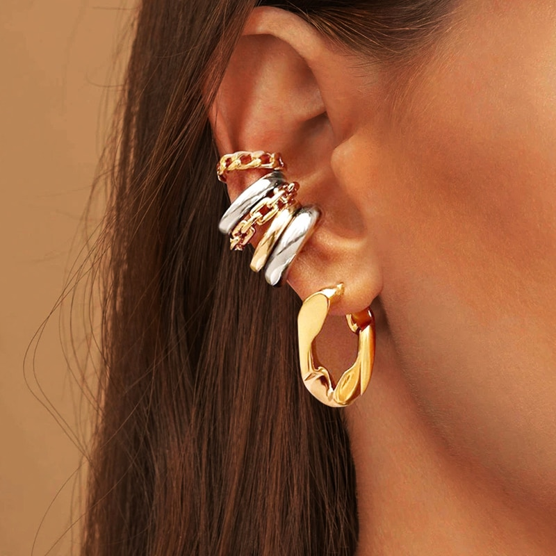 Punk Rock Gold Color Clip Earrings No Piercing Trendy Link Chain Earcuffs Statement Cartilage Earrings for Women Party Jewelry