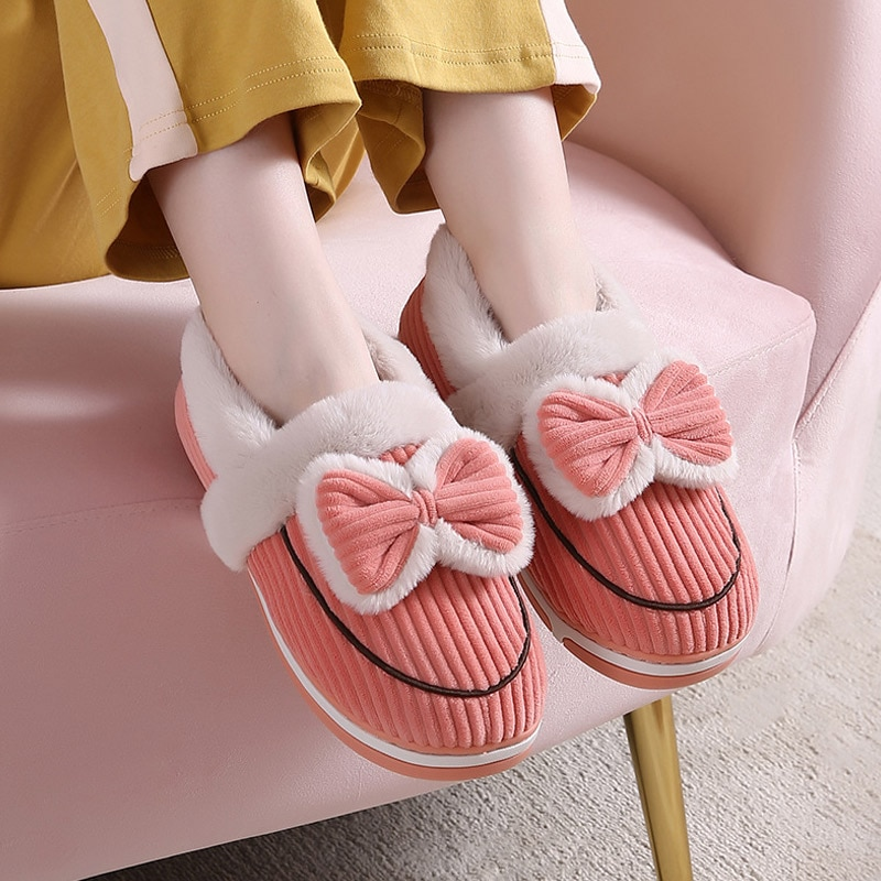 Women Home Slippers Winter Bowknot Furry Warm Ladies Shoes Indoor Non-slip Soft House Couple Slipper