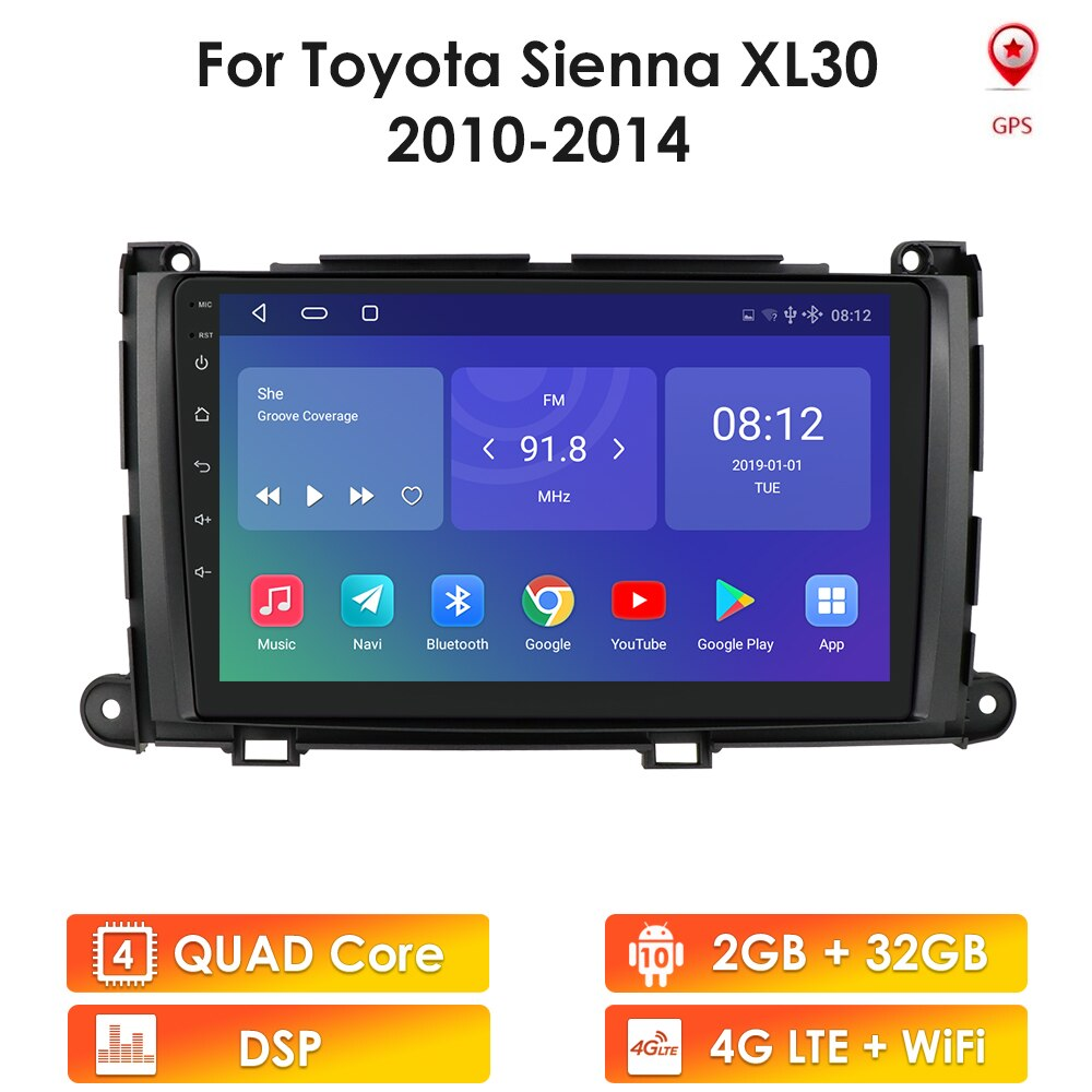Android 10 2G+32G Car Gps Player for Toyota Sienna 2010 2011 2012 2013 2014 Stereo Radio 2 Din Head
