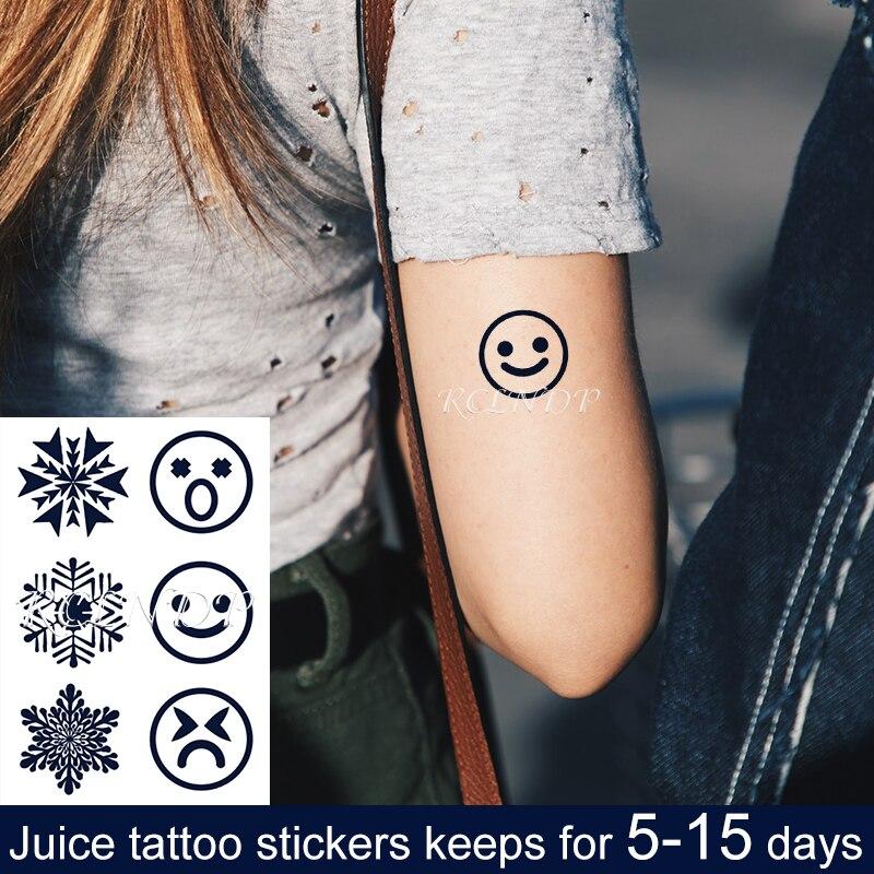 Tatuaje de jugo temporal a prueba de agua pegatina de expresión de sonrisa sorpresa patrones geométricos tatuaje Flash tatuaje falso arte para hombres y mujeres