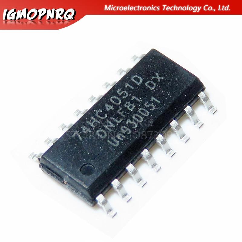 10 pces 74hc4051d 74hc4051 sn74hc4051d sop-16 multiplexer switch ics 8-channel mux/demux novo original