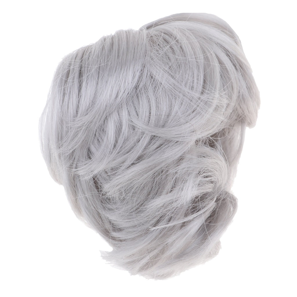 Classic Bob Wig Short Hairdo Wig Doll Imitation Mohair Curly Wig Hair For 1:6 BJD/ Uncle Dolls Accessories Silver Grey