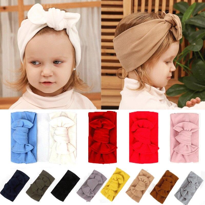 2019 cosas de bebé Accesorios Niño niñas bebé turbante sólido banda pelo diadema arco camiseta Bowknot Solid accesorios para la cabeza para fotos