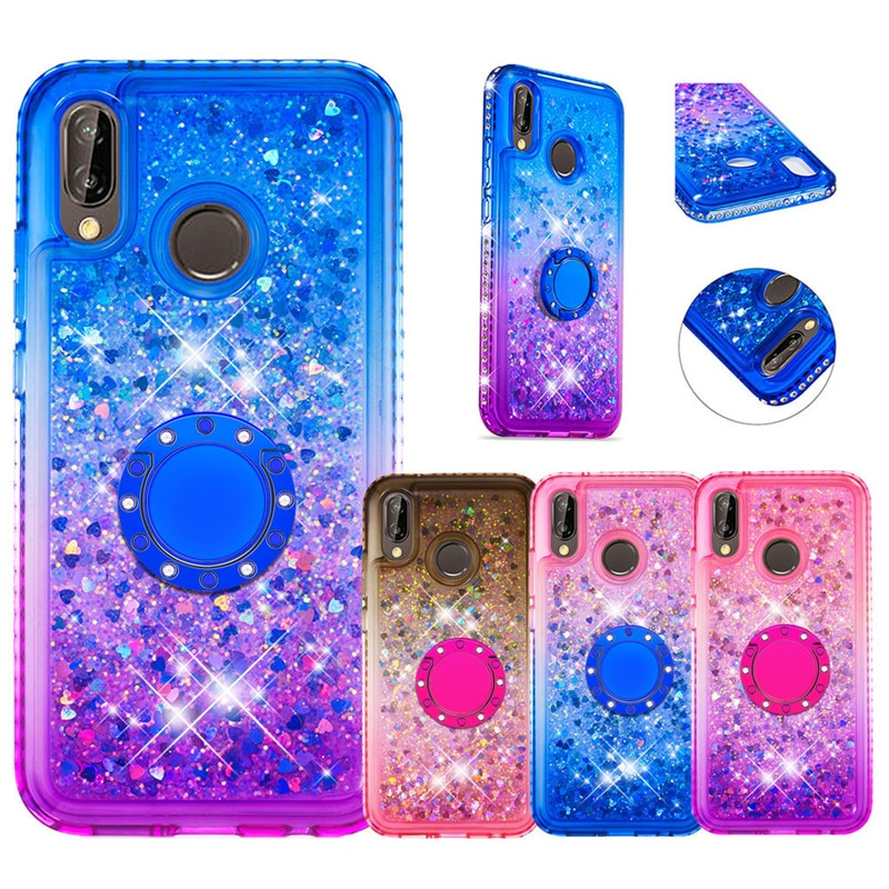 Bling liquid Glitter Finger Ring Case for Huawei P20 P30 Lite Pro 2019 Nova 5i Nova 3e Case Soft Silicone Stand Diamond Cover