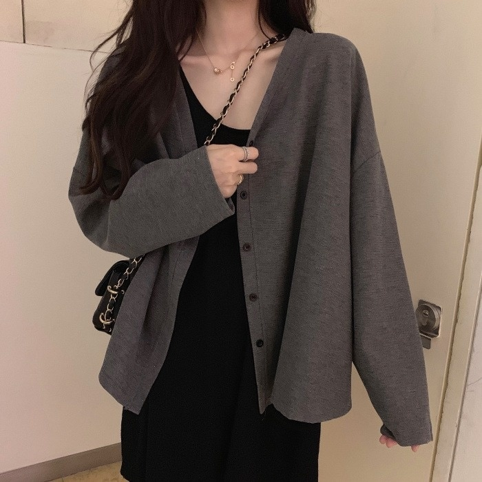 Knitted Cardigan Coat Women's Spring and Autumn 2021 New Korean Thin Sweater Loose Small with Short
