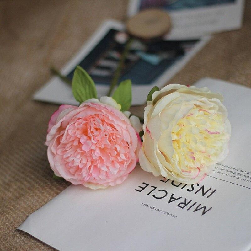 ¡Liquidación! Artificial Peony ramas cortas seda individual peonias de imitación flores vivo de flores para boda fiesta decoración del hogar
