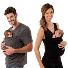 T-Shirt kangourou à manches courtes   Vêtement de porte-bébé, pour la famille, pour le père, la mère et le bébé, grande poche, Tee petit haut