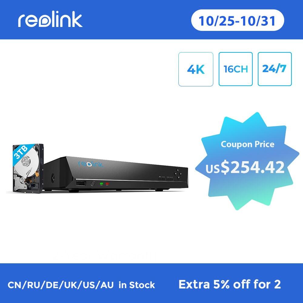 [4K الإنسان/سيارة الكشف] ريولينك 16ch 5MP 4MP PoE شبكة مسجل فيديو مع 3 تيرا بايت HDD فقط ل ريولينك HD كاميرات اي بي RLN16-410
