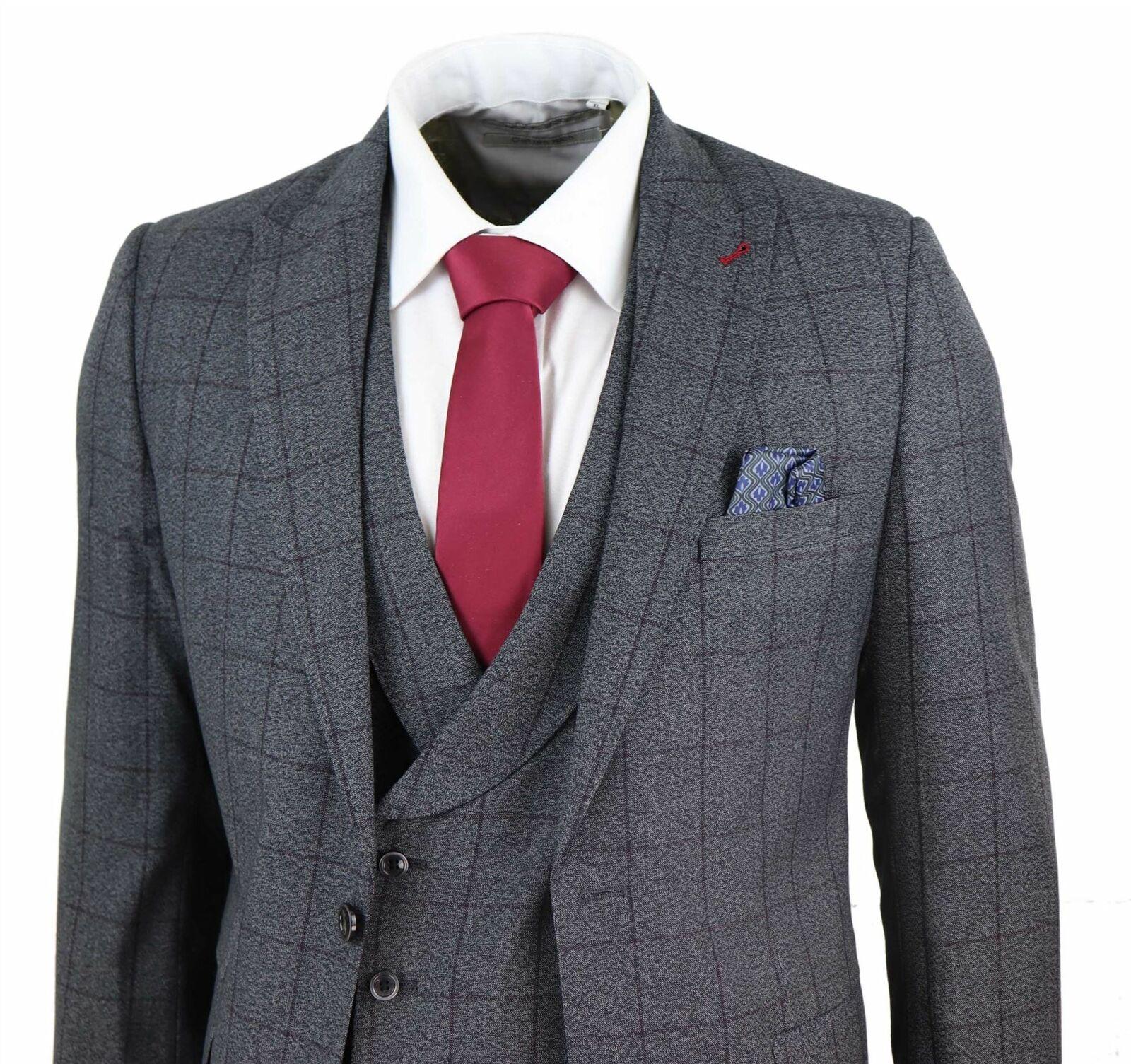 2020 cinza escuro ternos dos homens lã tweed xadrez 3 peças ternos de casamento do vintage jaqueta colete calças feito sob encomenda do noivo smoking