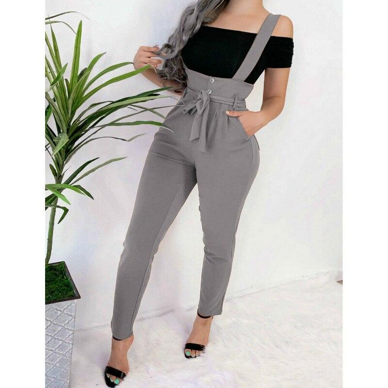 Las mujeres de bolsillo de cintura alta mono pantalones largos pantalones de moda Slim traje de salto para mujeres overoles
