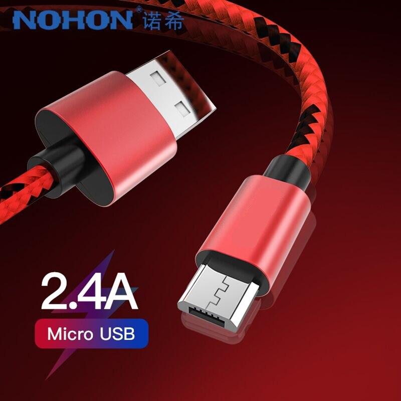 NOHON Micro USB Nylon cargador Cable para Samsung Galaxy S7 S6 para Huawei Xiaomi carga rápida datos Android Cable de teléfono móvil