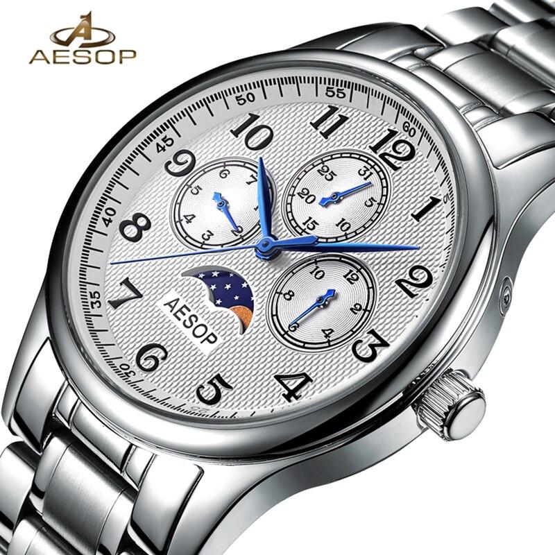 Aesop homem relógio de moda masculino relógio de pulso de quartzo masculino relógio de pulso masculino relógio de pulso de safira de cristal de luxo