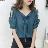 new chiffon womens blouses short sleeve fashion top v neck woman shirt korean solid casual blouse slim tops lace regular