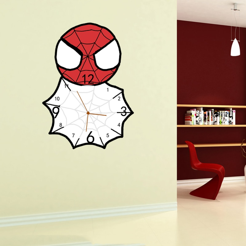 Living Room Wall Clock Modern Bedroom Mute Clock Cartoon Animation Creative Clock Wall Clock Pocket Watch Superman