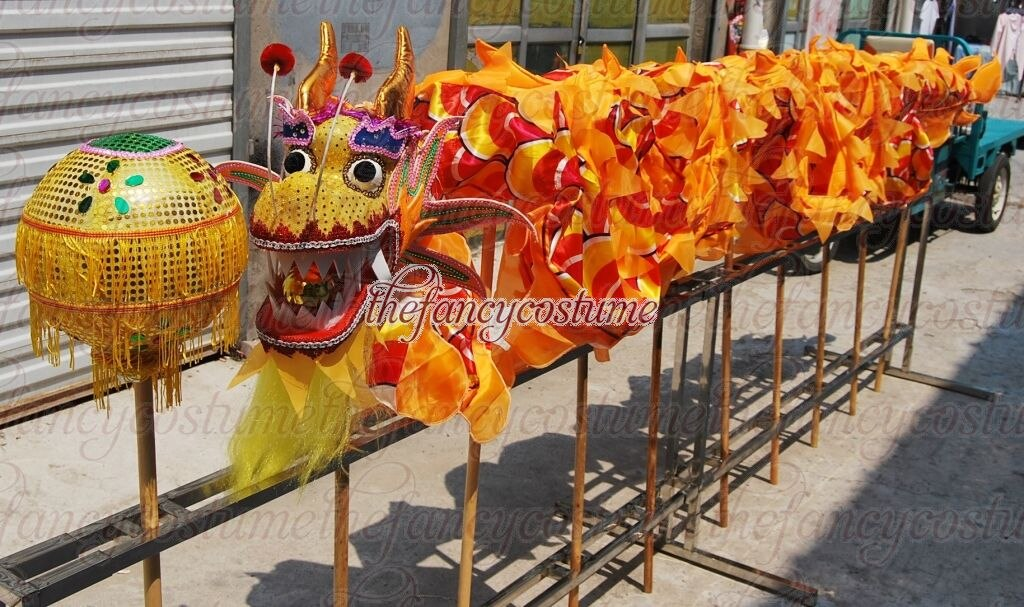 Kid Children 10.3m Silk Dragon Dance Costume 10 Players Student School Halloween Event Party Performance Parade Folk Stage