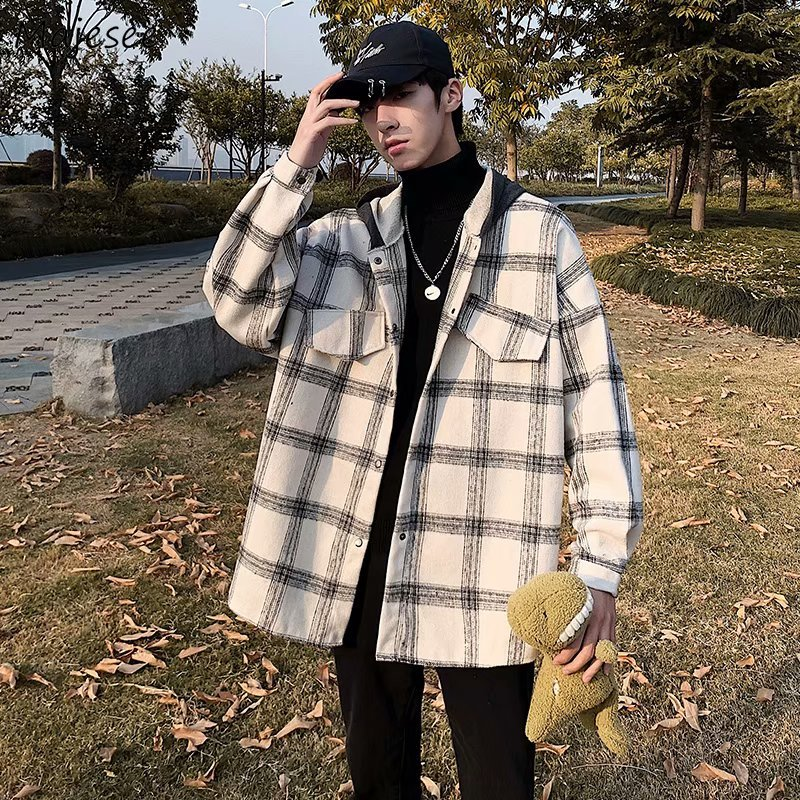 Plaid Jackets Men Winter Thick Basic Loose Korean Retro Streetwear Outwear Stitching Hat Mens Patchw
