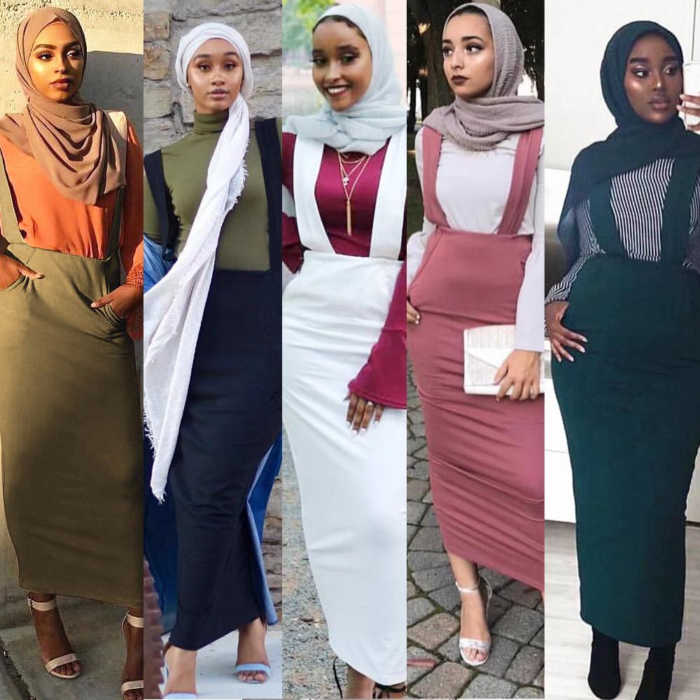 5 couleurs Abaya jupe musulmane femmes jarretelle jupe Maxi crayon moyen-orient moulante Abaya taille haute gaine longues jupes islamiques