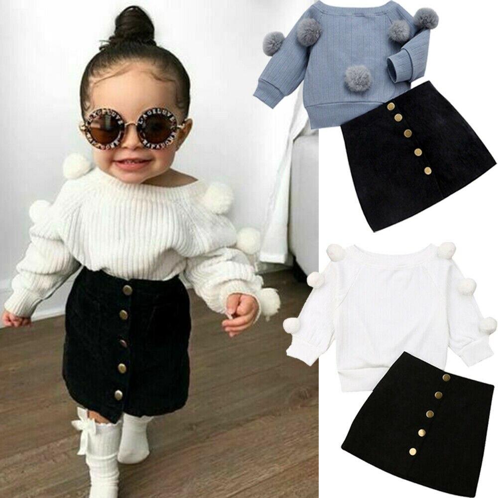 1-6Y осенний комплект одежды для маленьких девочек вязаный свитер с длинными рукавами + мини-юбка на пуговицах теплые комплекты одежды