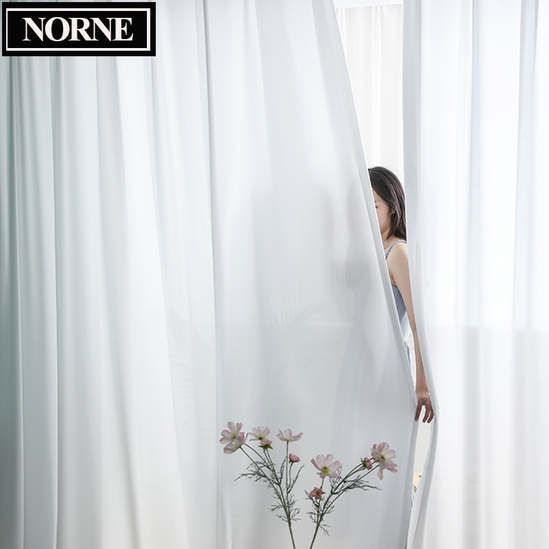 NORNE Top Quality Luxurious Chiffon Solid White Sheer Curtains for Living Room Bedroom Decoration Window Voiles Tulle Curtain