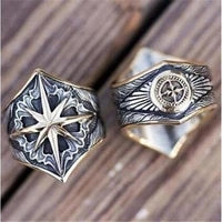 new cross octagonal star mysterious pattern mens ring fashion retro metal amulet ring accessories party jewelry size 8 13