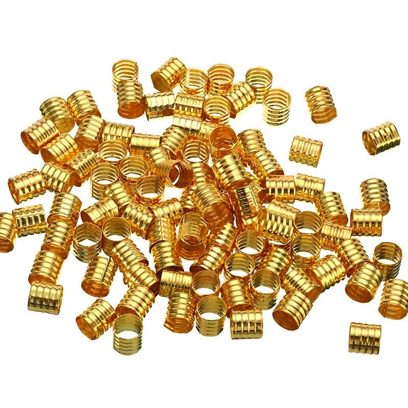 100 pçs/lote 10x8mm ajustável prata/ouro cabelo dreadlock grânulos forma primavera anéis de cabelo trança manguito clipe de estilo de cabelo acessórios