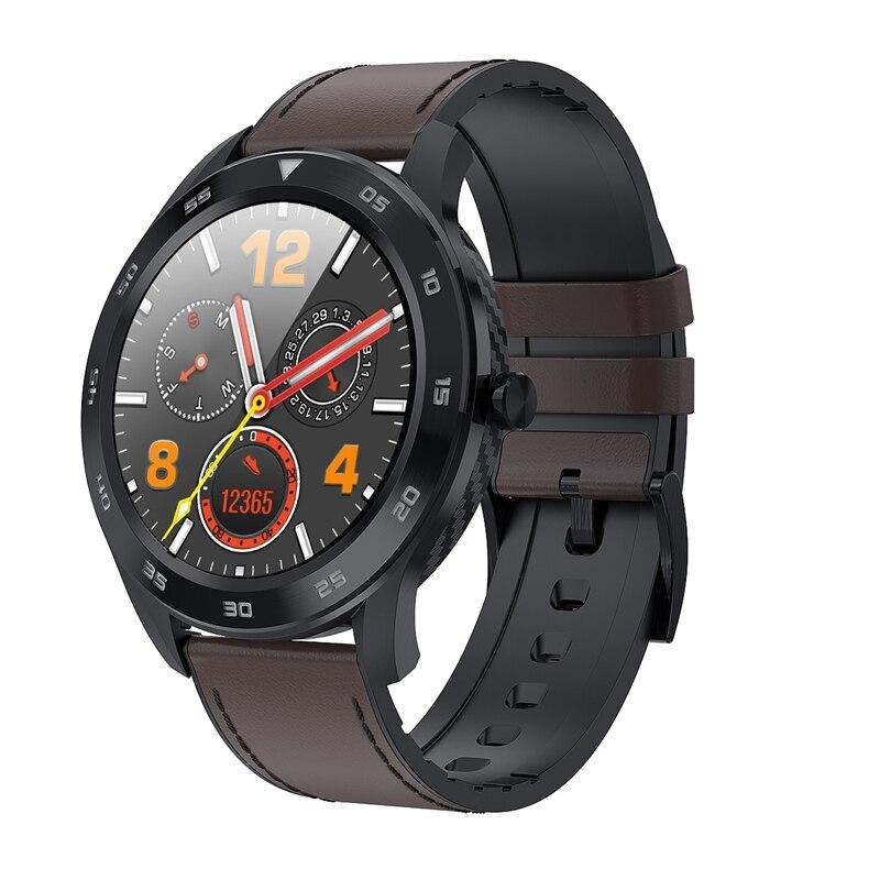 For Women Men Smart Watch DT98 1.3Inch IP68 Waterproof Full Press Sn Sport Smartwatch Fitness Bracelet(Black Dark Brown Leat