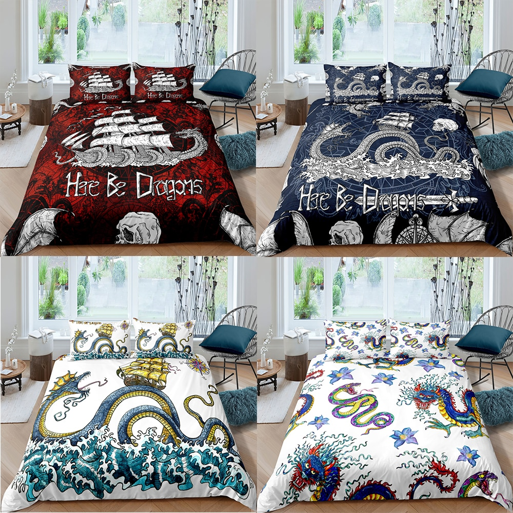 Chinese Dragon Pattern Duvet Cover Polyester Bedding Set Twin Full Queen King Size Quilt Comforter Cover With Pillow Cases